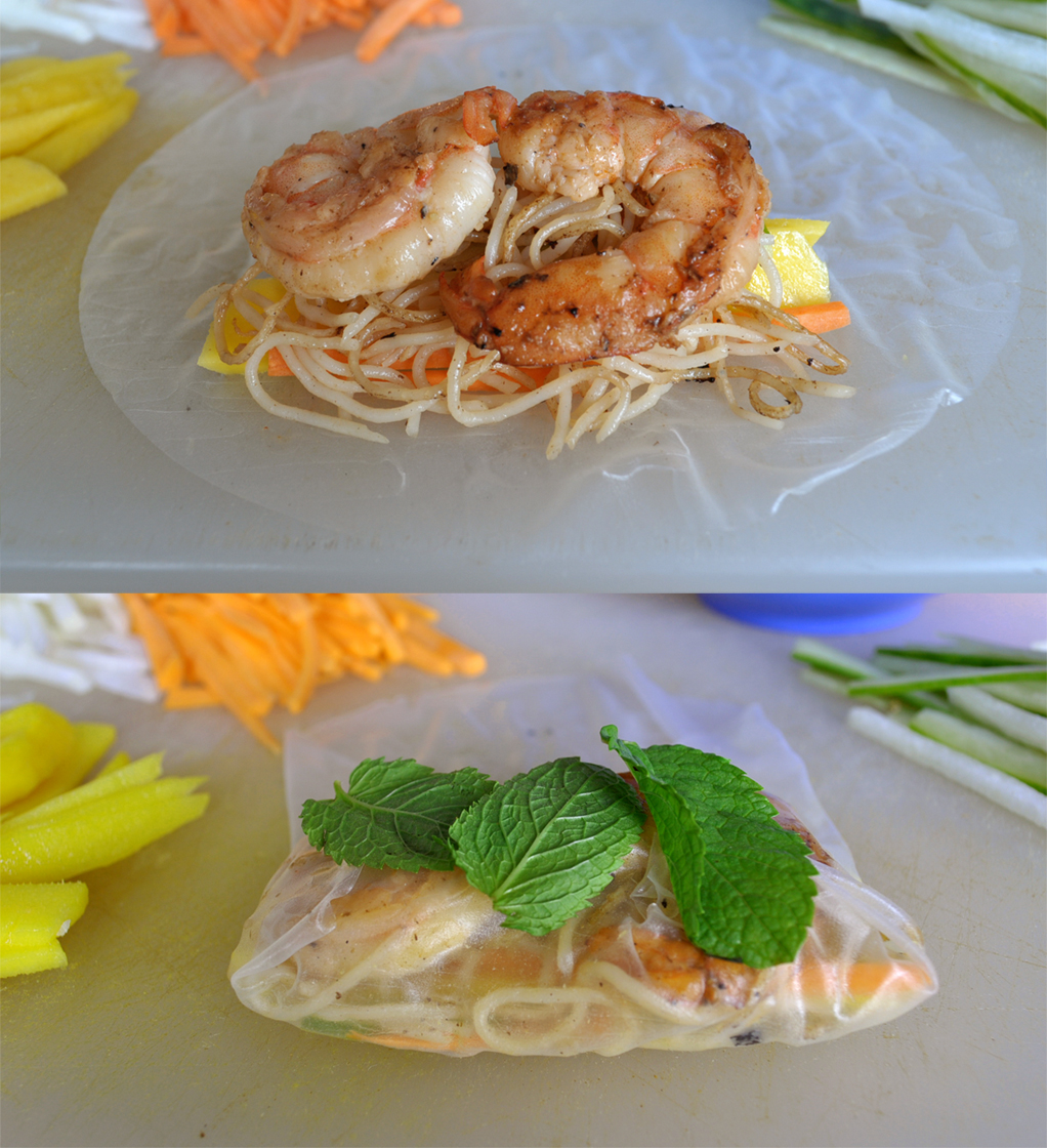 Crunchy Summer Rolls with Mint, Mango and Shrimp - Spade Spatula